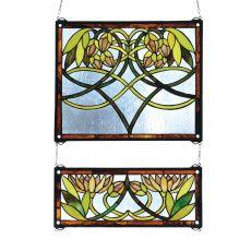 """21"""" W X 26"""" H Waterlily 2 -Piece Stained Glass Window"""