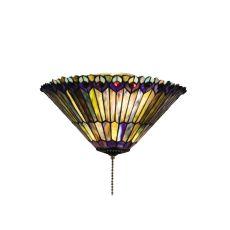 "17"" W Tiffany Jeweled Peacock Flushmount"