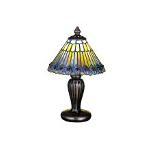 "12"" H Tiffany Jeweled Peacock Mini Lamp"