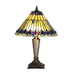 """17"""" H Tiffany Jeweled Peacock Accent Lamp"""