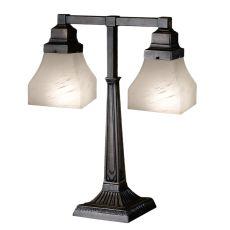 "20"" H Bungalow White Alabaster Swirl 2 Arm Desk Lamp"