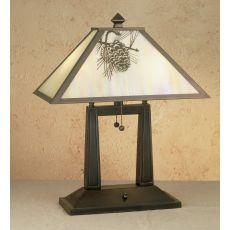 """20"""" H Winter Pine Oblong Table Lamp"""