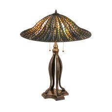 """31"""" H Tiffany Lotus Leaf Table Lamp"""