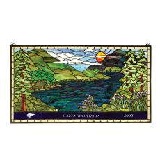 """39.90"""" W X 22"""" H Personalized Sunset Meadow Stained Glass Window"""