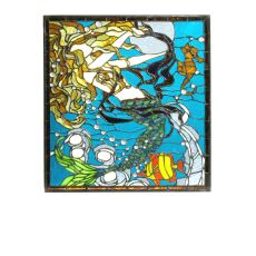 "15.5"" W X 16.5"" H Mermaid of the Sea Stained Glass Window"