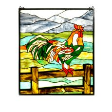 "22"" W X 25"" H Tiffany Rooster Stained Glass Window"