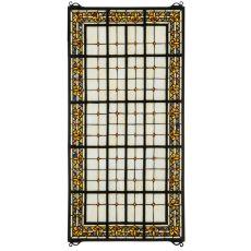"24"" W X 48"" H Fleur-De-Lis Stained Glass Window"