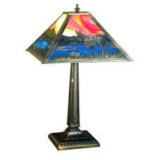 "21.5"" H Moose At Lake Table Lamp"