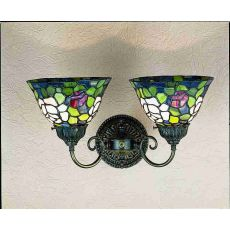 "18"" W Tiffany Rosebush 2 Lt Wall Sconce"