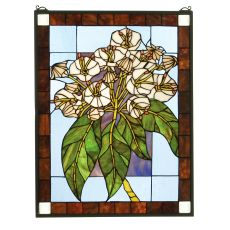 "20"" W X 26"" H Revival Mountain Laurel Stained Glass Window"