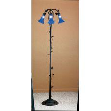 "59"" H Blue Pond Lily 3 Lt Floor Lamp"
