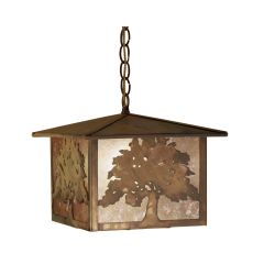 "12"" Sq Oak Tree Lantern Pendant"