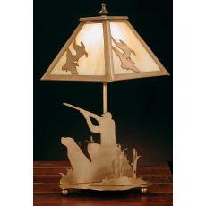 "15.5"" H Duck Hunter W/Dog Accent Lamp"