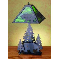 "21"" H Grizzly Bear Through The Trees Table Lamp"