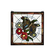 "20"" W X 20"" H Butterfly Floral Stained Glass Window"