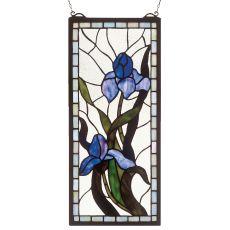 """9"""" W X 20"""" H Iris Stained Glass Window"""