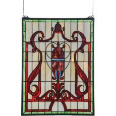 """18"""" W X 24"""" H Baroque Vase Stained Glass Window"""