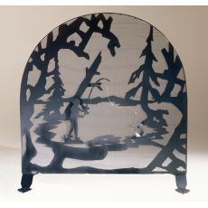 """30"""" W X 30"""" H Fly Fishing Creek Arched Fireplace Screen"""