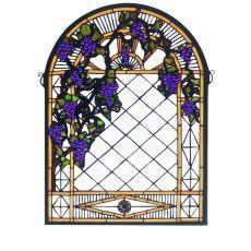"""22"""" W X 30"""" H Grape Diamond Trellis Stained Glass Window"""