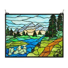 """24"""" W X 18"""" H Mountain Stream Stained Glass Window"""