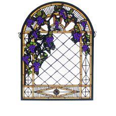 """16"""" W X 22"""" H Grape Diamond Trellis Stained Glass Window"""