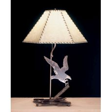 "26.5"" H Strike Of The Eagle Faux Leather Shade Table Lamp"