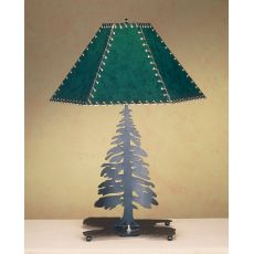 """24"""" H Tall Pines Faux Leather Shade Table Lamp"""