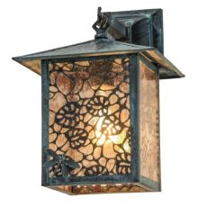 """9"""" W Seneca Lotus Leaf And Dragonfly Hanging Wall Sconce"""