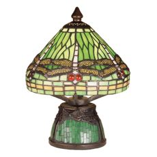 "10.5"" H Tiffany Dragonfly w/Tiffany Mosaic Base Mini Lamp"
