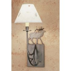 "8"" W Lone Elk Pressed Flower Shade Wall Sconce"