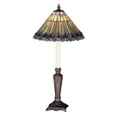 "23"" H Tiffany Jeweled Peacock Buffet Lamp"
