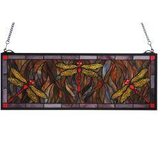 """28"""" W X 10"""" H Tiffany Dragonfly Trio Stained Glass Window"""