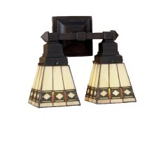 """12"""" W Diamond Band Mission 2 Lt Wall Sconce"""