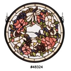 """15"""" W X 15"""" H Revival Wreath & Garland Medallion Stained Glass Window"""