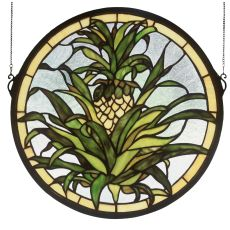 "16"" W X 16"" H Welcome Pineapple Stained Glass Window"