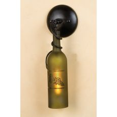 """5"""" W Tuscan Vineyard Etched Grapes Wine Bottle Hanging Wall Sconce"""
