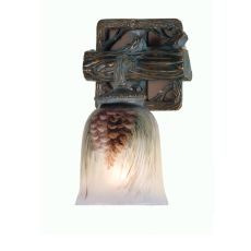 """6"""" W Northwoods Pinecone Hand Painted Wall Sconce"""