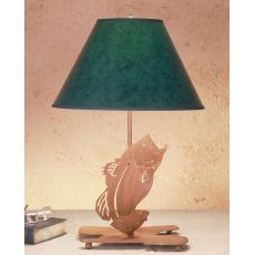"21.5"" H Leaping Bass Faux Leather Shade Table Lamp"