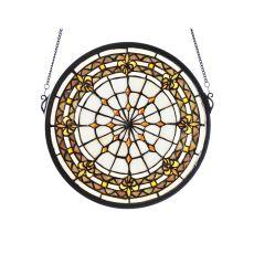 "13""  Round Fleur-De-Lis Medallion Stained Glass Window"