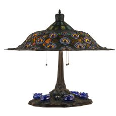 "26.5"" H Tiffany Peacock Feather Table Lamp"