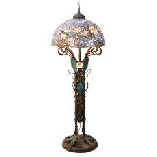 "73"" H Tiffany Magnolia Nouveau Floral Floor Lamp"