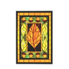 """25.25"""" W X 36.5"""" H Harvest Festival Stained Glass Window"""