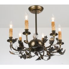 "18"" W Oak Leaf & Acorn 6 Lt Chandelier"