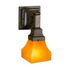 """5"""" W Bungalow Frosted Amber Wall Sconce"""