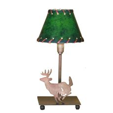 """13"""" H Lone Deer Faux Leather Accent Lamp"""