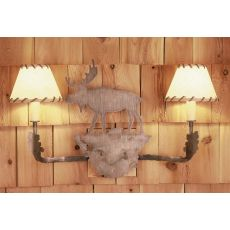 "20"" W Moose 2 Lt Rawhide Shade Wall Sconce"