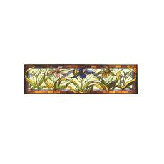 """60"""" W X 14"""" H Lady Slippers Stained Glass Window"""
