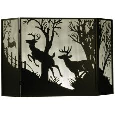 "62"" W X 40"" H Deer On The Loose Fireplace Screen"