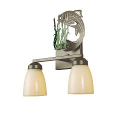"13"" W Leaping Trout 2 Lt Vanity Light"