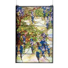 """32"""" W X 48"""" H Tiffany Wisteria & Snowball Stained Glass Window"""